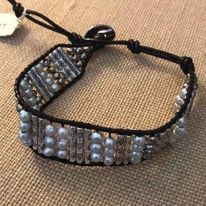 NEW adjustable leather beaded bracelet Lucky Brand